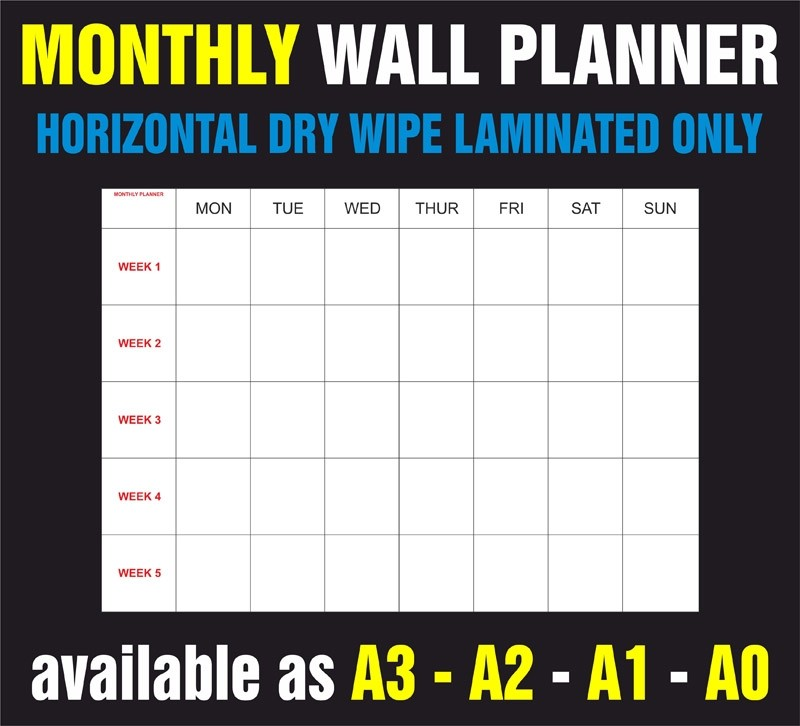 Monthly Horizontal Dry Wipe Laminated Only