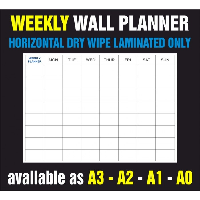 Weekly Horizontal Dry Wipe Laminated Only