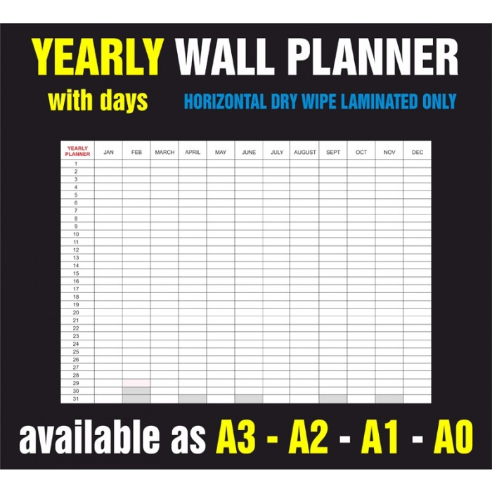 Yearly Days Horizontal Dry Wipe Laminated Only