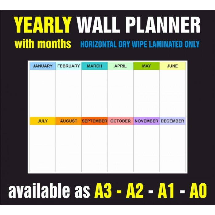 Yearly Months Horizontal Dry Wipe Laminated Only