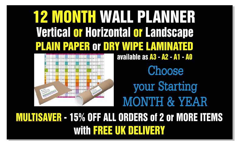 12 Month Wall Planner - Vertical or Horizontal