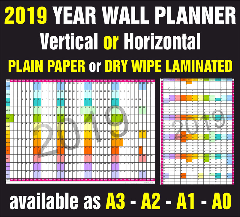 2019 Year Wall Planner In Multiple Sizes