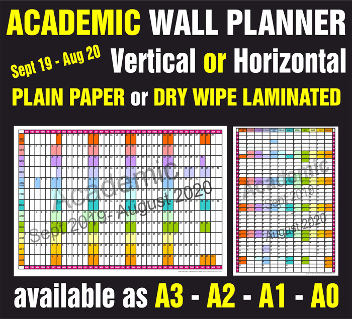 Academic Year wall Planner In Multiple Sizes