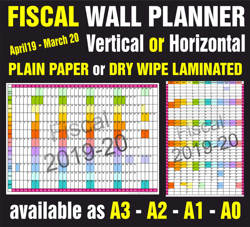 Fiscal Year wall Planner In Multiple Sizes