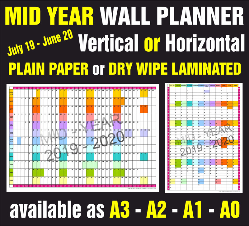 Mid Year wall Planner In Multiple Sizes