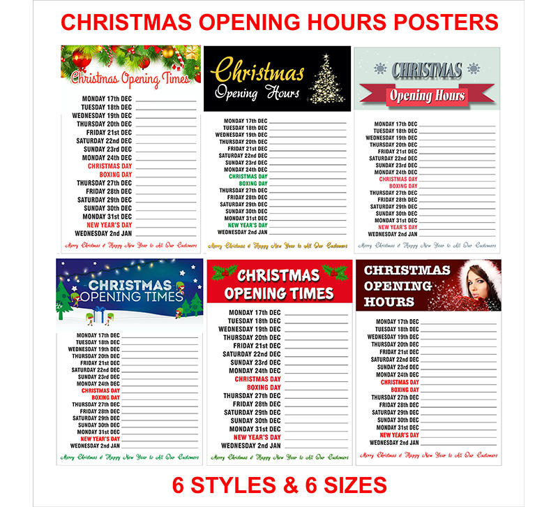 Christmas Opening Hours Posters